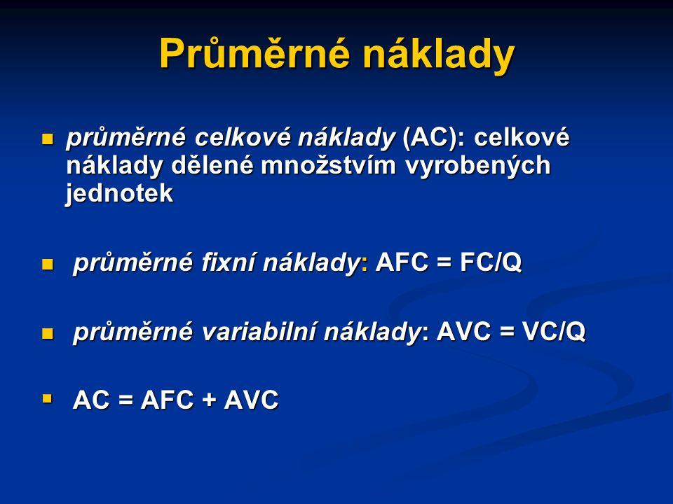 Další druhy firemních nákladů celkové (účetní) náklady (TC) celkové (účetní) náklady (TC) celkové fixní náklady: náklady, které se s rozsahem výroby n