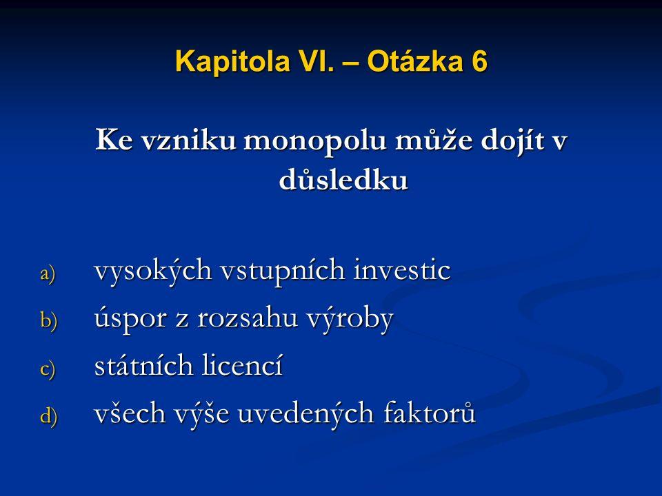 Kapitola VI. – Otázka 5 Pro přirozený monopol platí, že s růstem rozsahu jeho výroby klesají jeho a) mezní náklady b) celkové náklady c) průměrné nákl