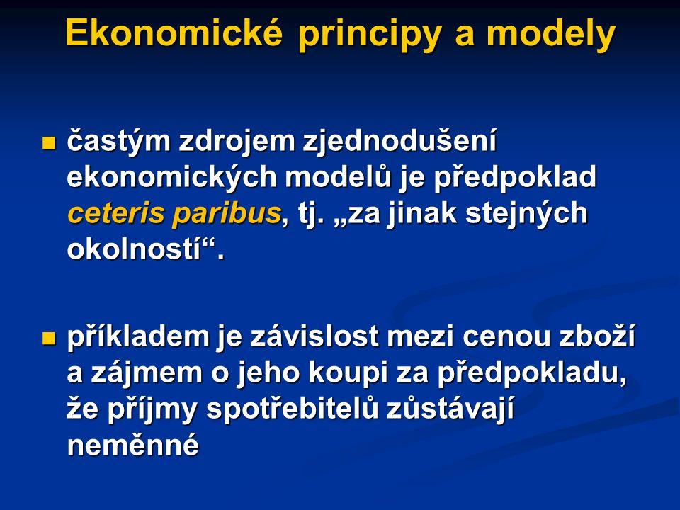 Pozitivní ekonomie: ekonomické principy a modely ekonomické principy udávají trvalé vztahy mezi ekonomickými jevy (např. zákon poptávky) ekonomické pr