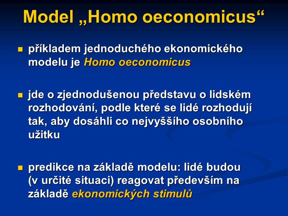 Ekonomické principy a modely častým zdrojem zjednodušení ekonomických modelů je předpoklad ceteris paribus, tj.