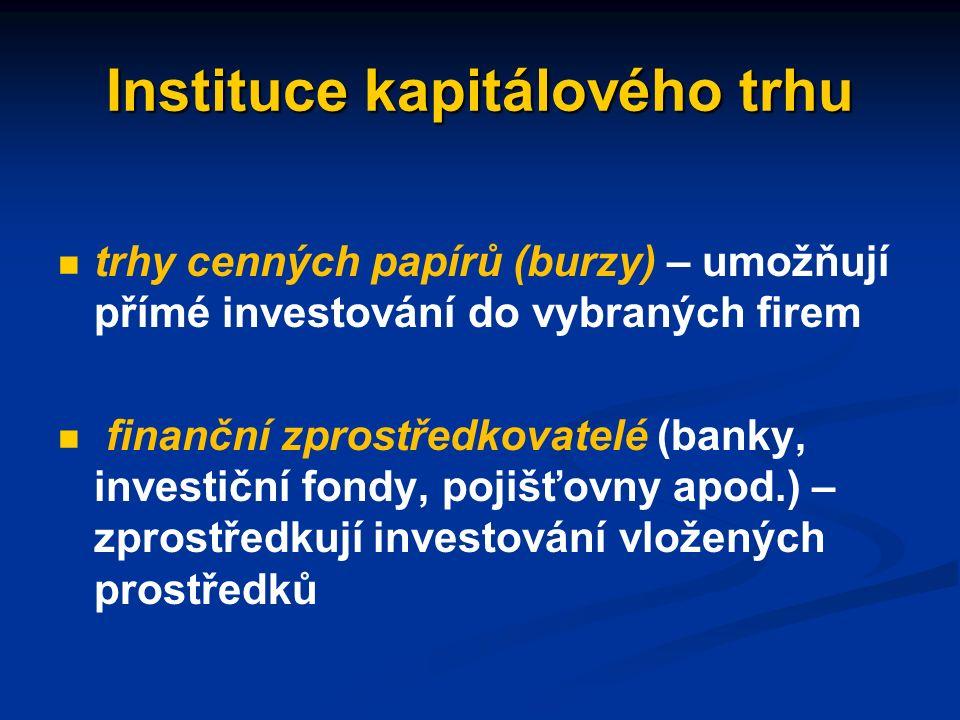 Instituce kapitálového trhu instituce, jejichž prostřednictvím jsou volné finanční prostředky (úspory) domácností převáděny k subjektům, které je investují instituce, jejichž prostřednictvím jsou volné finanční prostředky (úspory) domácností převáděny k subjektům, které je investují