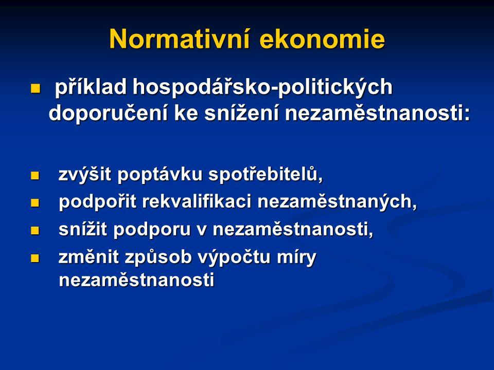 Normativní ekonomie příkladem normativní ekonomie jsou doporučení týkající se řešení nezaměstnanosti příkladem normativní ekonomie jsou doporučení týk