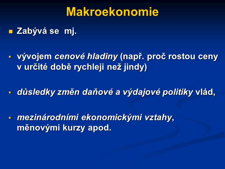 Makroekonomie Zabývá se mj. Zabývá se mj.  vývojem celkového množství vyrobené produkce či celkovými příjmy, jež hospodářství vytváří (např. otázkou,