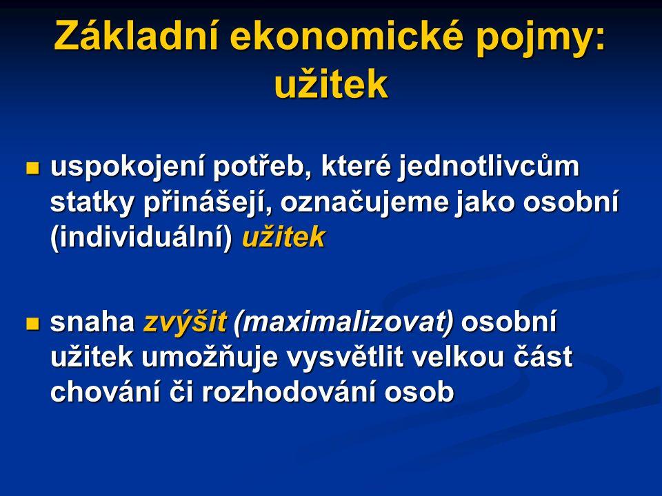 Základní ekonomické pojmy: statky statky - předměty či činnosti, které slouží k uspokojování potřeb. Mohou být přírodní nebo vyrobené. statky - předmě