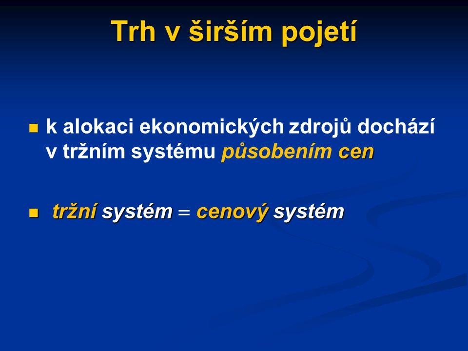 Trh v širším pojetí systém rozhodující o rozdělování (alokaci) zdrojů v národním hospodářství systém rozhodující o rozdělování (alokaci) zdrojů v náro