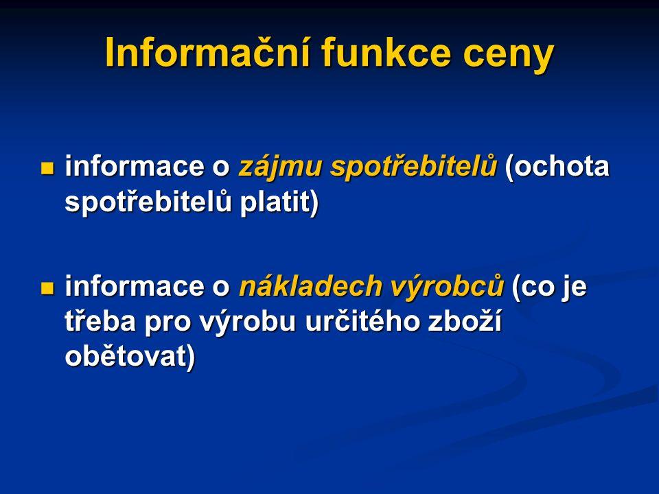 Funkce cen informační informační alokační alokační distribuční distribuční