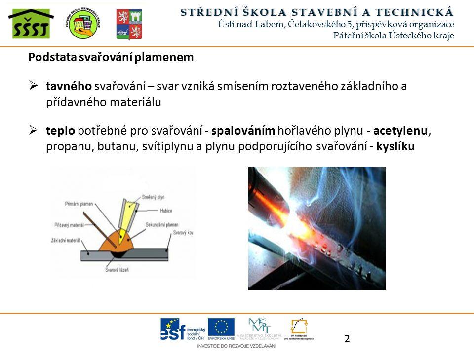 Podstata svařování plamenem  tavného svařování – svar vzniká smísením roztaveného základního a přídavného materiálu  teplo potřebné pro svařování - spalováním hořlavého plynu - acetylenu, propanu, butanu, svítiplynu a plynu podporujícího svařování - kyslíku 2 STŘEDNÍ ŠKOLA STAVEBNÍ A TECHNICKÁSTŘEDNÍ ŠKOLA STAVEBNÍ A TECHNICKÁ Ústí nad Labem, Čelakovského 5, příspěvková organizace Páteřní škola Ústeckého kraje
