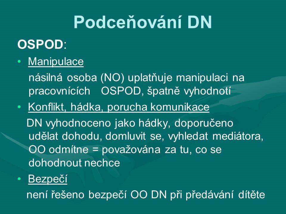 Podceňování DN OSPOD: Manipulace násilná osoba (NO) uplatňuje manipulaci na pracovnících OSPOD, špatně vyhodnotí Konflikt, hádka, porucha komunikace D