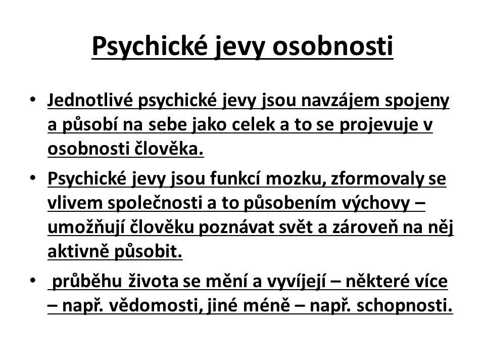 Psychické jevy osobnosti Jednotlivé psychické jevy jsou navzájem spojeny a působí na sebe jako celek a to se projevuje v osobnosti člověka.