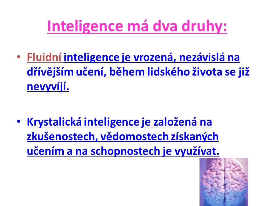 Inteligence má dva druhy: Fluidní inteligence je vrozená, nezávislá na dřívějším učení, během lidského života se již nevyvíjí.