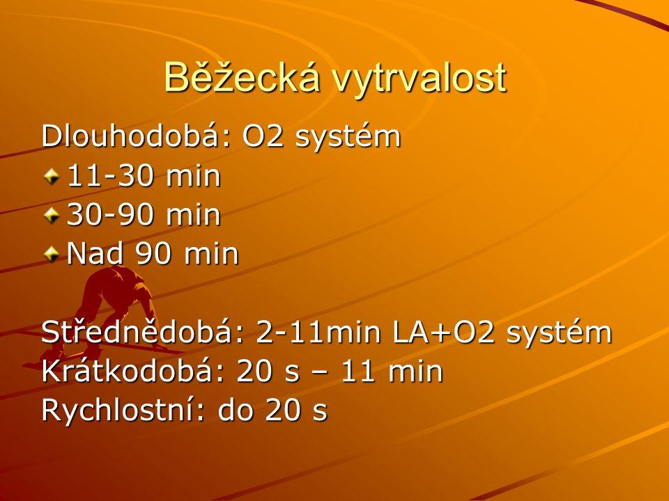 Běžecká vytrvalost Dlouhodobá: O2 systém 11-30 min 30-90 min Nad 90 min Střednědobá: 2-11min LA+O2 systém Krátkodobá: 20 s – 11 min Rychlostní: do 20 s
