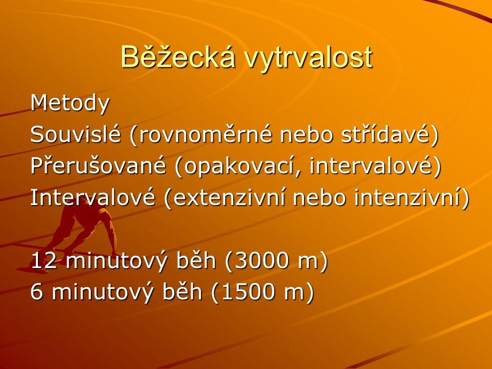 Metody Souvislé (rovnoměrné nebo střídavé) Přerušované (opakovací, intervalové) Intervalové (extenzivní nebo intenzivní) 12 minutový běh (3000 m) 6 minutový běh (1500 m)