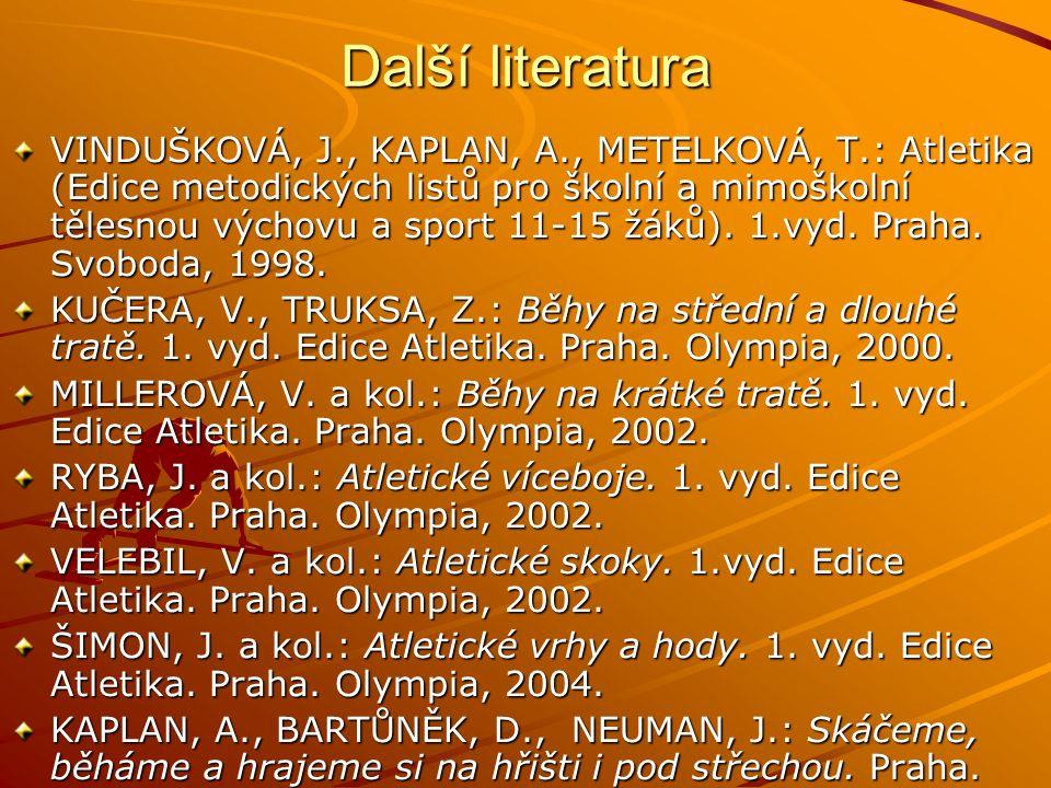 Další literatura VINDUŠKOVÁ, J., KAPLAN, A., METELKOVÁ, T.: Atletika (Edice metodických listů pro školní a mimoškolní tělesnou výchovu a sport 11-15 žáků).