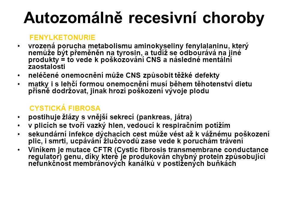 Autozomálně recesivní choroby FENYLKETONURIE vrozená porucha metabolismu aminokyseliny fenylalaninu, který nemůže být přeměněn na tyrosin, a tudíž se odbourává na jiné produkty = to vede k poškozování CNS a následné mentální zaostalosti neléčené onemocnění může CNS způsobit těžké defekty matky i s lehčí formou onemocnění musí během těhotenství dietu přísně dodržovat, jinak hrozí poškození vývoje plodu CYSTICKÁ FIBROSA postihuje žlázy s vnější sekrecí (pankreas, játra) v plicích se tvoří vazký hlen, vedoucí k respiračním potížím sekundární infekce dýchacích cest může vést až k vážnému poškození plic, i smrti, ucpávání žlučovodů zase vede k poruchám trávení Viníkem je mutace CFTR (Cystic fibrosis transmembrane conductance regulator) genu, díky které je produkován chybný protein způsobující nefunkčnost membránových kanálků v postižených buňkách