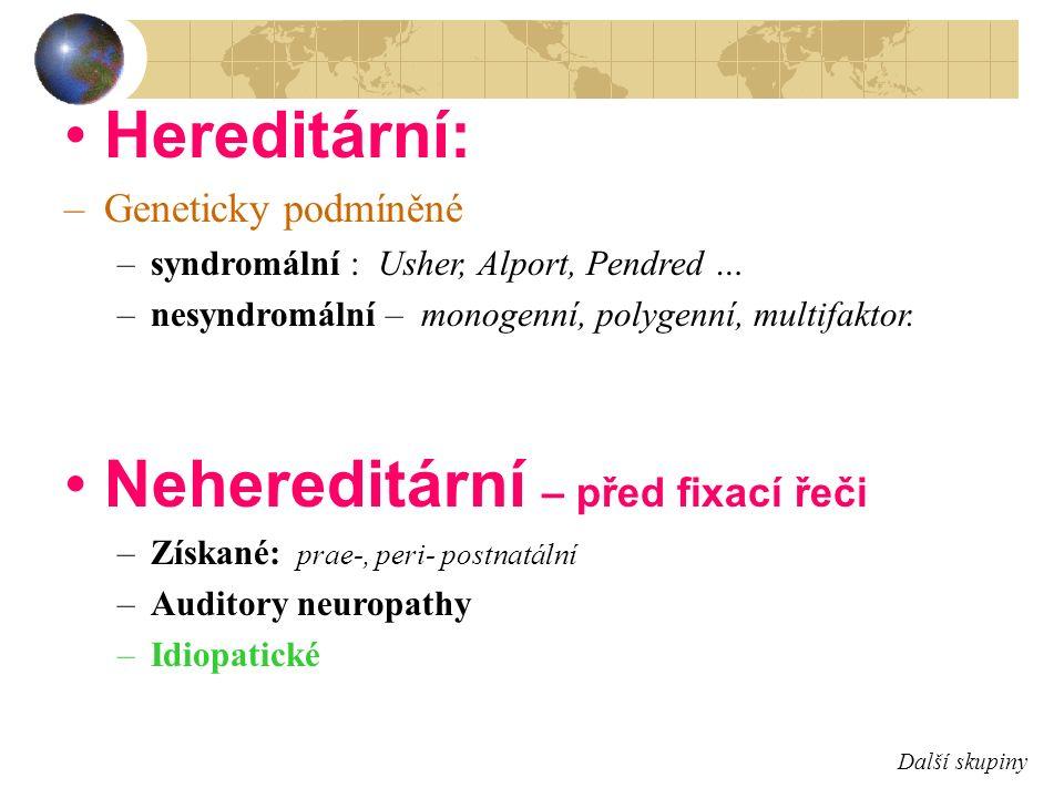 Hereditární: –Geneticky podmíněné –syndromální : Usher, Alport, Pendred … –nesyndromální – monogenní, polygenní, multifaktor. Nehereditární – před fix