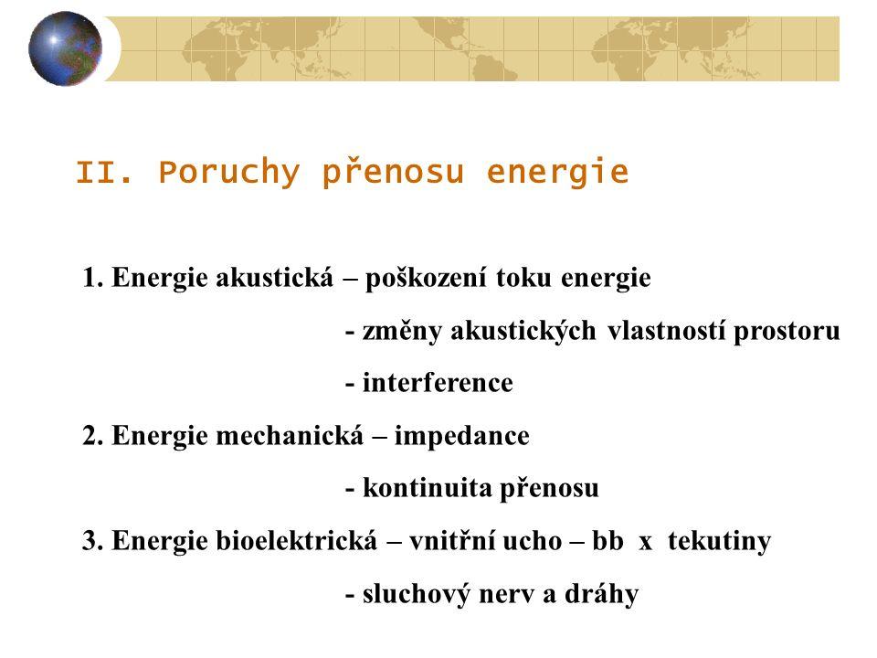 II. Poruchy přenosu energie 1. Energie akustická – poškození toku energie - změny akustických vlastností prostoru - interference 2. Energie mechanická