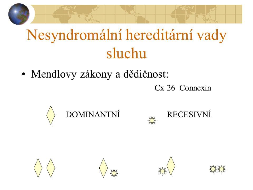 Nesyndromální hereditární vady sluchu Mendlovy zákony a dědičnost: Cx 26 Connexin DOMINANTNÍRECESIVNÍ