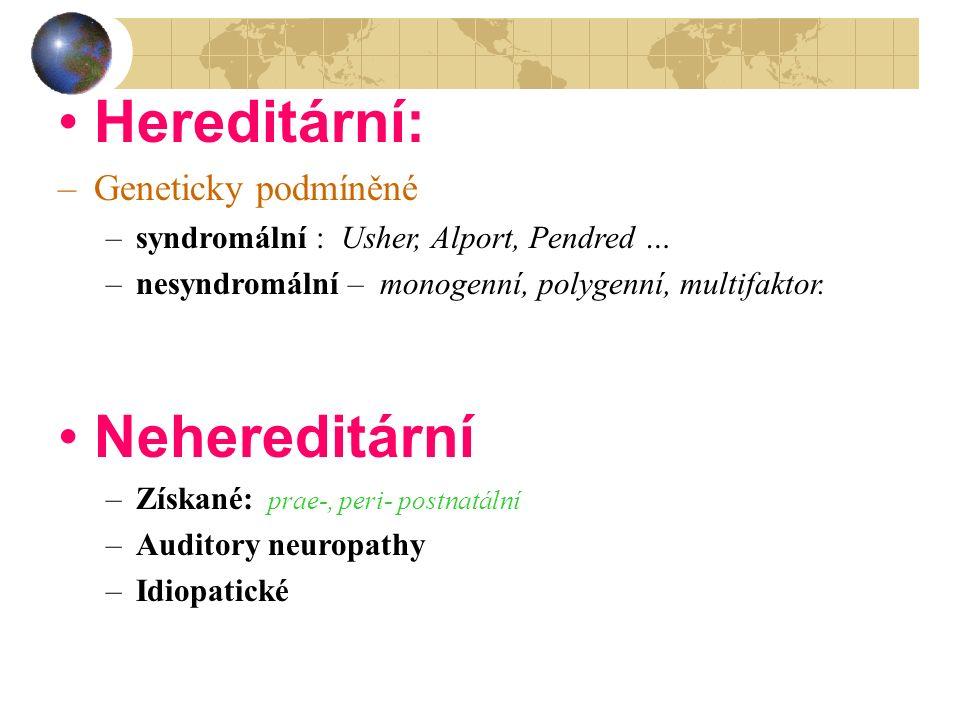 Hereditární: –Geneticky podmíněné –syndromální : Usher, Alport, Pendred … –nesyndromální – monogenní, polygenní, multifaktor. Nehereditární –Získané: