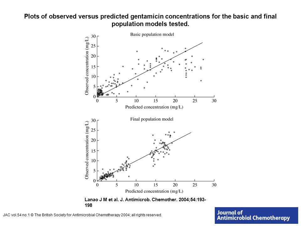 Plots of observed versus predicted gentamicin concentrations for the basic and final population models tested.
