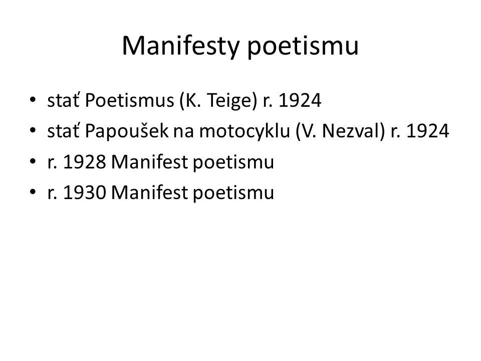 Manifesty poetismu stať Poetismus (K. Teige) r. 1924 stať Papoušek na motocyklu (V.