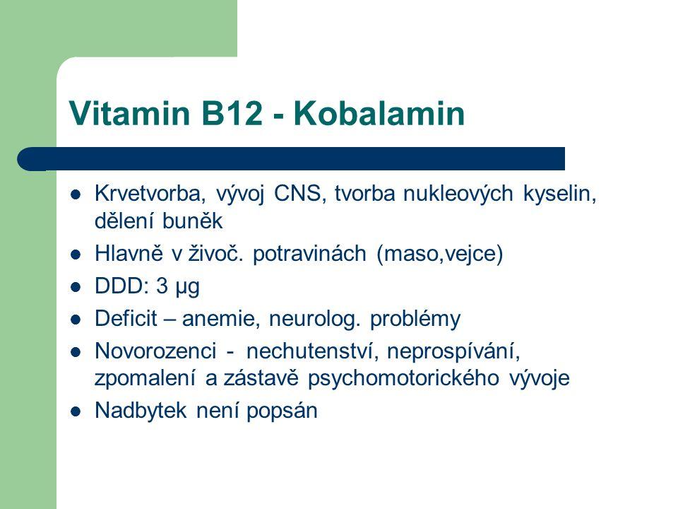 Vitamin B12 - Kobalamin Krvetvorba, vývoj CNS, tvorba nukleových kyselin, dělení buněk Hlavně v živoč.
