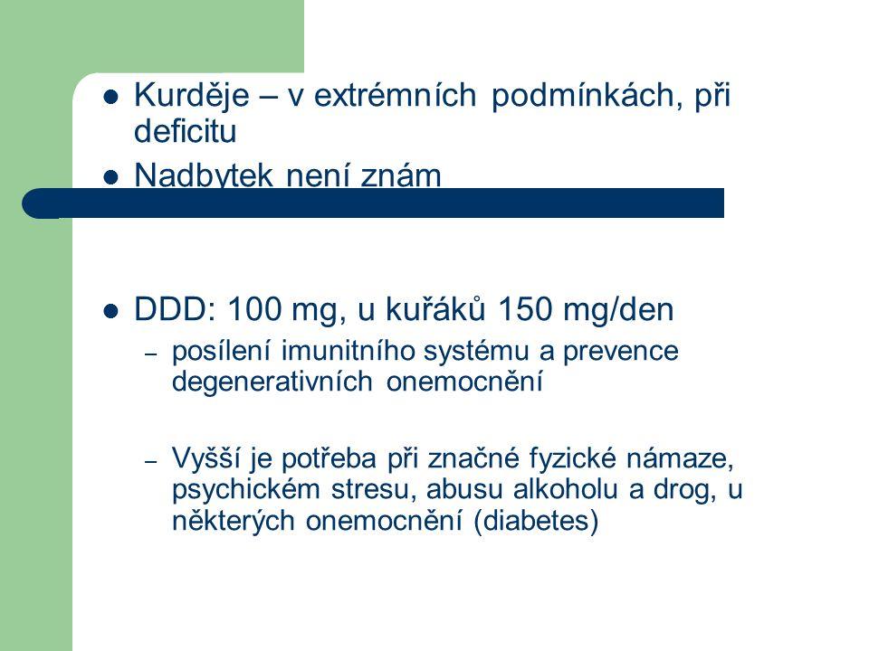 Kurděje – v extrémních podmínkách, při deficitu Nadbytek není znám DDD: 100 mg, u kuřáků 150 mg/den – posílení imunitního systému a prevence degenerativních onemocnění – Vyšší je potřeba při značné fyzické námaze, psychickém stresu, abusu alkoholu a drog, u některých onemocnění (diabetes)