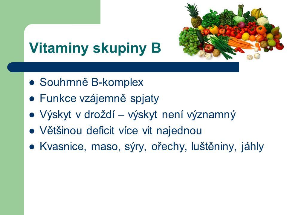 Vitaminy skupiny B Souhrnně B-komplex Funkce vzájemně spjaty Výskyt v droždí – výskyt není významný Většinou deficit více vit najednou Kvasnice, maso, sýry, ořechy, luštěniny, jáhly