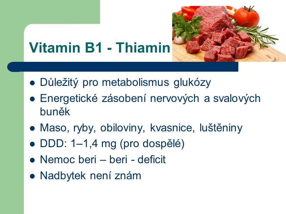 Vitamin B1 - Thiamin Důležitý pro metabolismus glukózy Energetické zásobení nervových a svalových buněk Maso, ryby, obiloviny, kvasnice, luštěniny DDD: 1–1,4 mg (pro dospělé) Nemoc beri – beri - deficit Nadbytek není znám