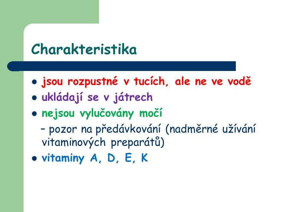 Charakteristika jsou rozpustné v tucích, ale ne ve vodě ukládají se v játrech nejsou vylučovány močí – pozor na předávkování (nadměrné užívání vitaminových preparátů) vitaminy A, D, E, K
