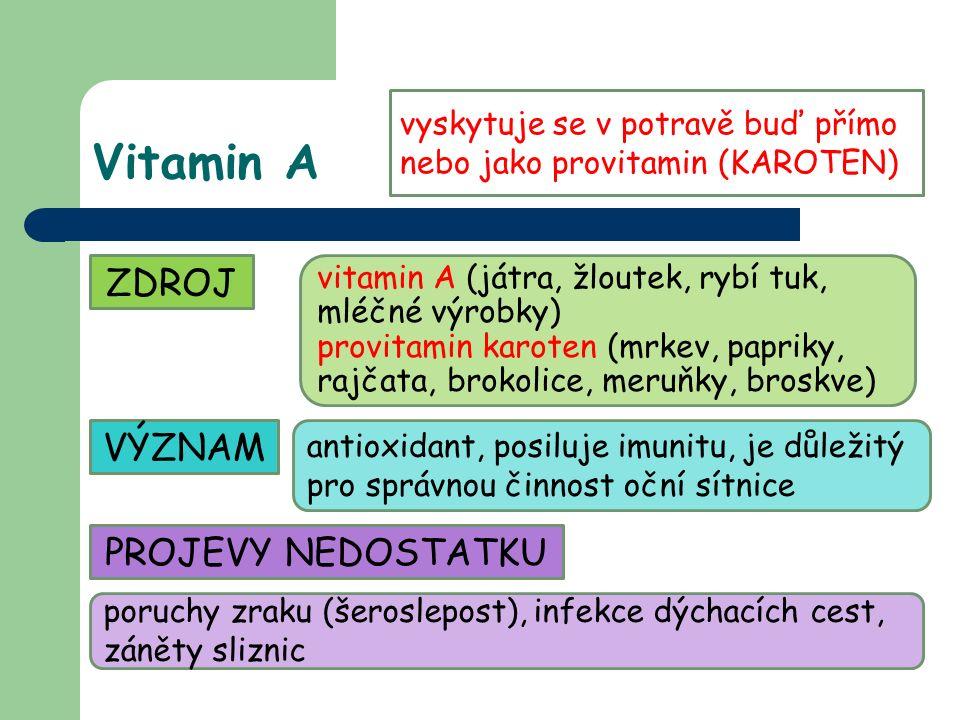 Vitamin A ZDROJ vitamin A (játra, žloutek, rybí tuk, mléčné výrobky) provitamin karoten (mrkev, papriky, rajčata, brokolice, meruňky, broskve) VÝZNAM antioxidant, posiluje imunitu, je důležitý pro správnou činnost oční sítnice PROJEVY NEDOSTATKU poruchy zraku (šeroslepost), infekce dýchacích cest, záněty sliznic vyskytuje se v potravě buď přímo nebo jako provitamin (KAROTEN)