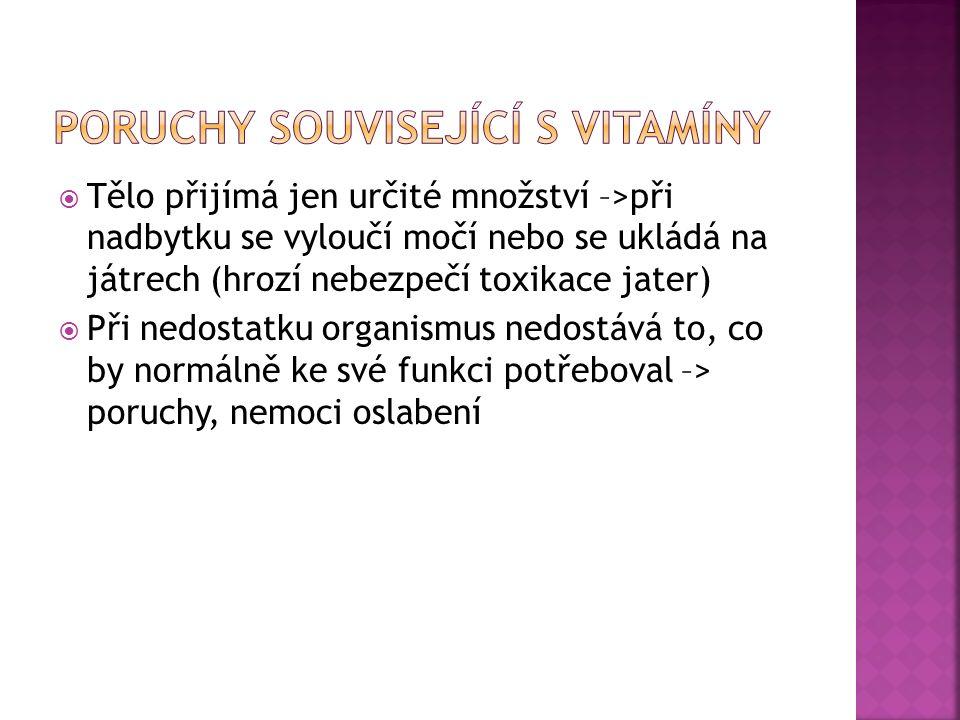  Bez nich nemohou být využity vitamíny  Organismus je nutně potřebuje, nedokáže si je vytvořit  Přijímáme je do těla potravou nebo vodou