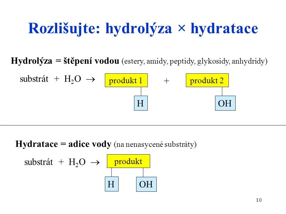 10 Rozlišujte: hydrolýza × hydratace substrát + H 2 O  produkt 2 OH substrát + H 2 O  + produkt 1 H produkt OH H Hydrolýza = štěpení vodou (estery, amidy, peptidy, glykosidy, anhydridy) Hydratace = adice vody (na nenasycené substráty)