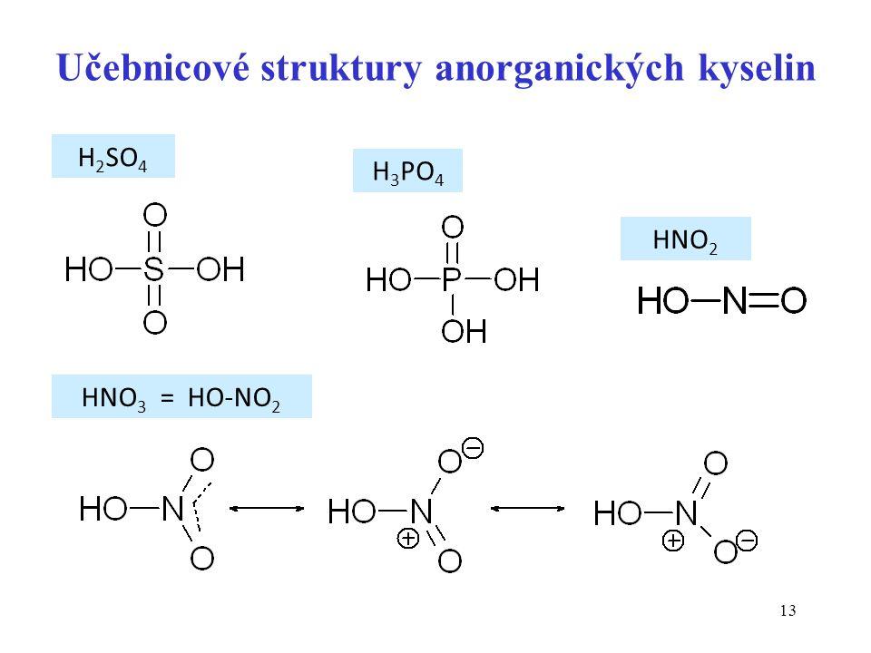 13 Učebnicové struktury anorganických kyselin H 2 SO 4 H 3 PO 4 HNO 2 HNO 3 = HO-NO 2