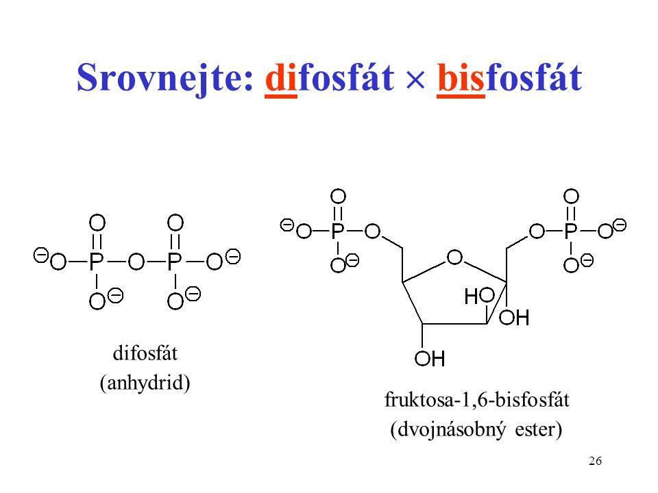 26 Srovnejte: difosfát  bisfosfát difosfát (anhydrid) fruktosa-1,6-bisfosfát (dvojnásobný ester)
