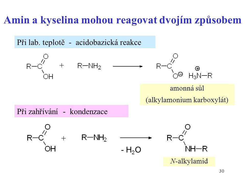 30 Amin a kyselina mohou reagovat dvojím způsobem + + - H 2 O amonná sůl (alkylamonium karboxylát) N-alkylamid Při lab.