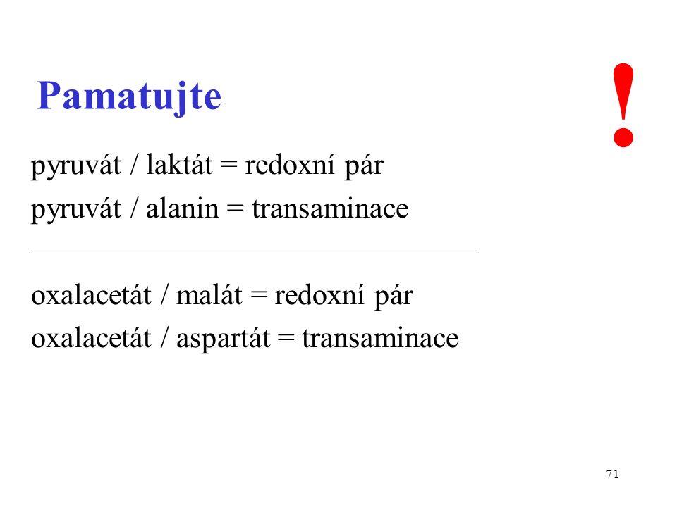 71 Pamatujte pyruvát / laktát = redoxní pár pyruvát / alanin = transaminace oxalacetát / malát = redoxní pár oxalacetát / aspartát = transaminace !