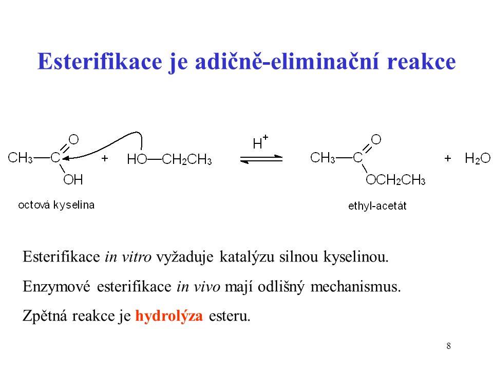 9 Esterifikace v lidském těle R-CO-S-CoA + R-OH  R-CO-O-R + CoA-SH enzymová reakce acyltransferasa – přenáší acyl z acyl-CoA na substrát příklady esterů: lipidy (triacylglyceroly) acetylcholin (signální molekula)
