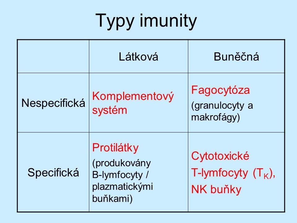 Typy imunity LátkováBuněčná Nespecifická Komplementový systém Fagocytóza (granulocyty a makrofágy) Specifická Protilátky (produkovány B-lymfocyty / plazmatickými buňkami) Cytotoxické T-lymfocyty (T K ), NK buňky