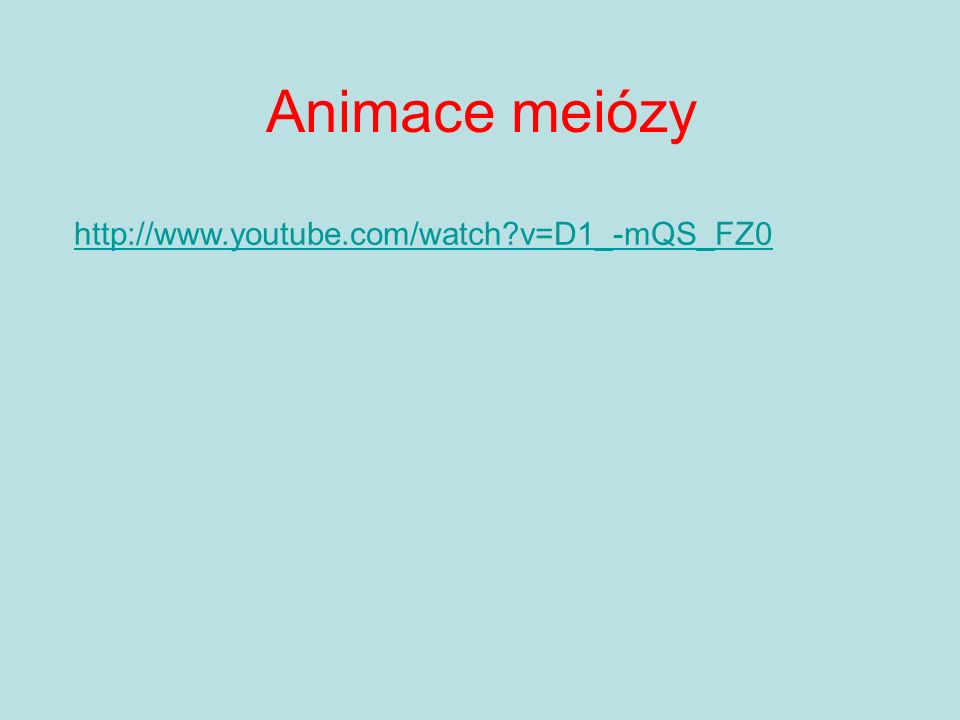 Animace meiózy http://www.youtube.com/watch?v=D1_-mQS_FZ0