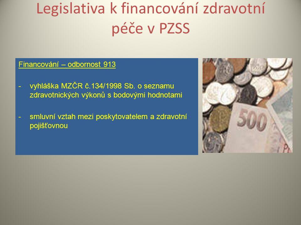Legislativa k financování zdravotní péče v PZSS Financování – odbornost 913 -vyhláška MZČR č.134/1998 Sb.