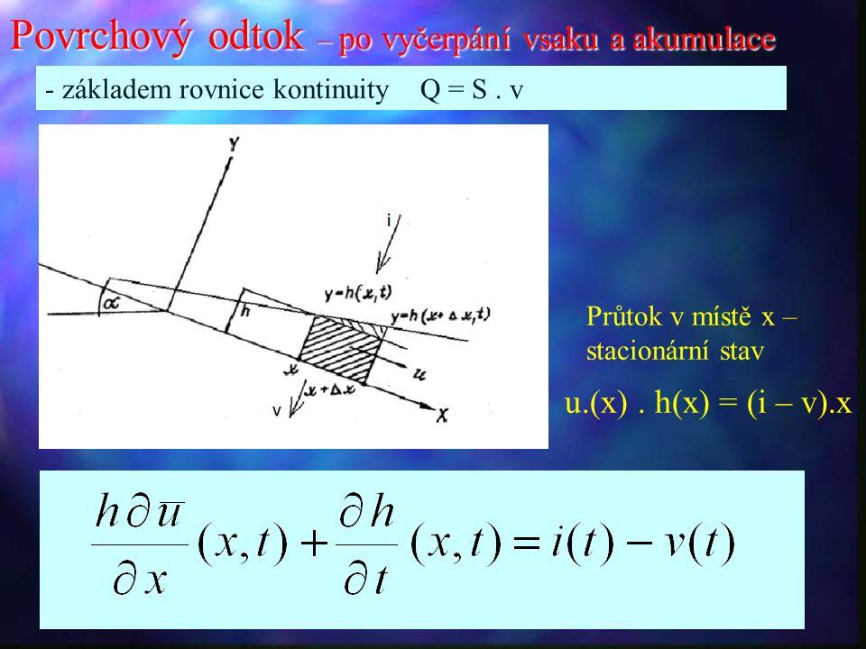Povrchový odtok – po vyčerpání vsaku a akumulace - základem rovnice kontinuity Q = S.