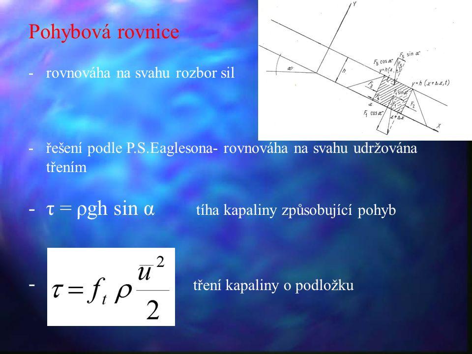 Pohybová rovnice -rovnováha na svahu rozbor sil -řešení podle P.S.Eaglesona- rovnováha na svahu udržována třením -τ = ρgh sin α tíha kapaliny způsobující pohyb - tření kapaliny o podložku