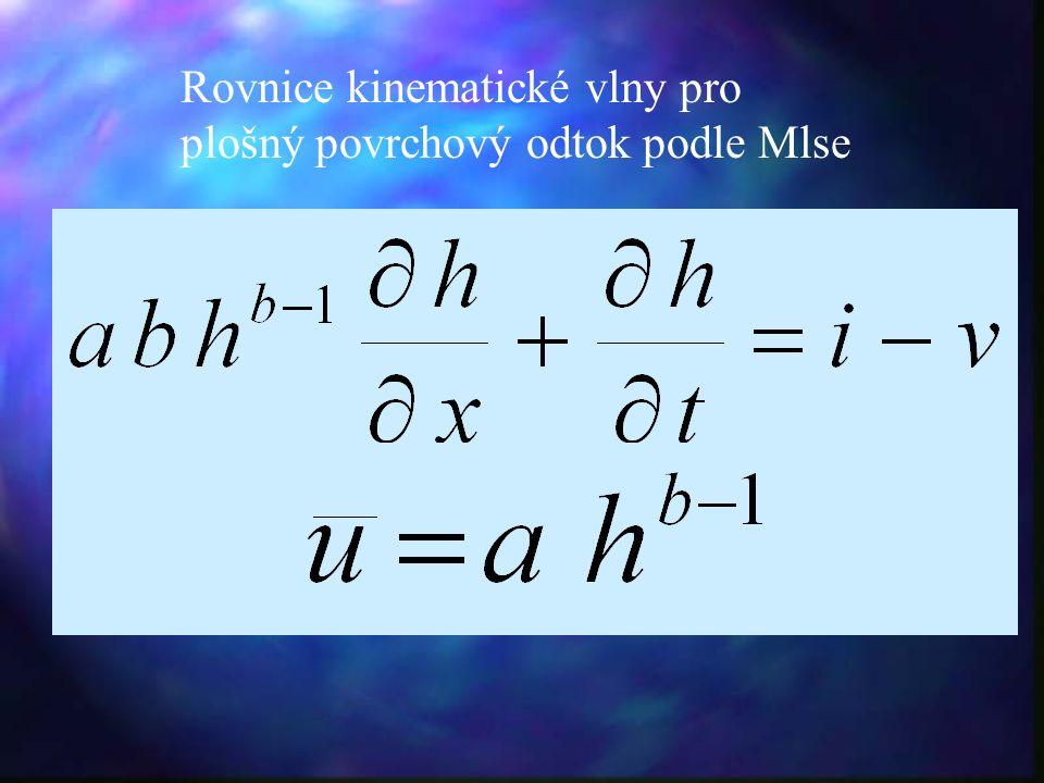 Rovnice kinematické vlny pro plošný povrchový odtok podle Mlse
