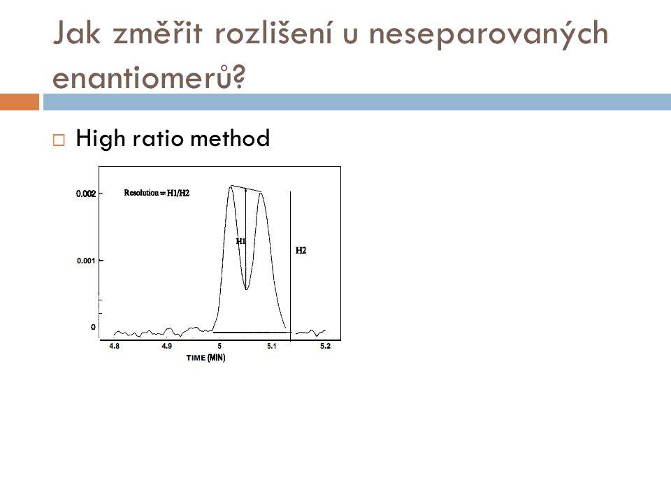 Jak změřit rozlišení u neseparovaných enantiomerů?  High ratio method