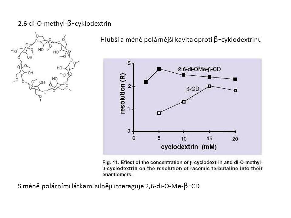 2,6-di-O-methyl- β- cyklodextrin Hlubší a méně polárnější kavita oproti β- cyklodextrinu S méně polárními látkami silněji interaguje 2,6-di-O-Me- β- CD