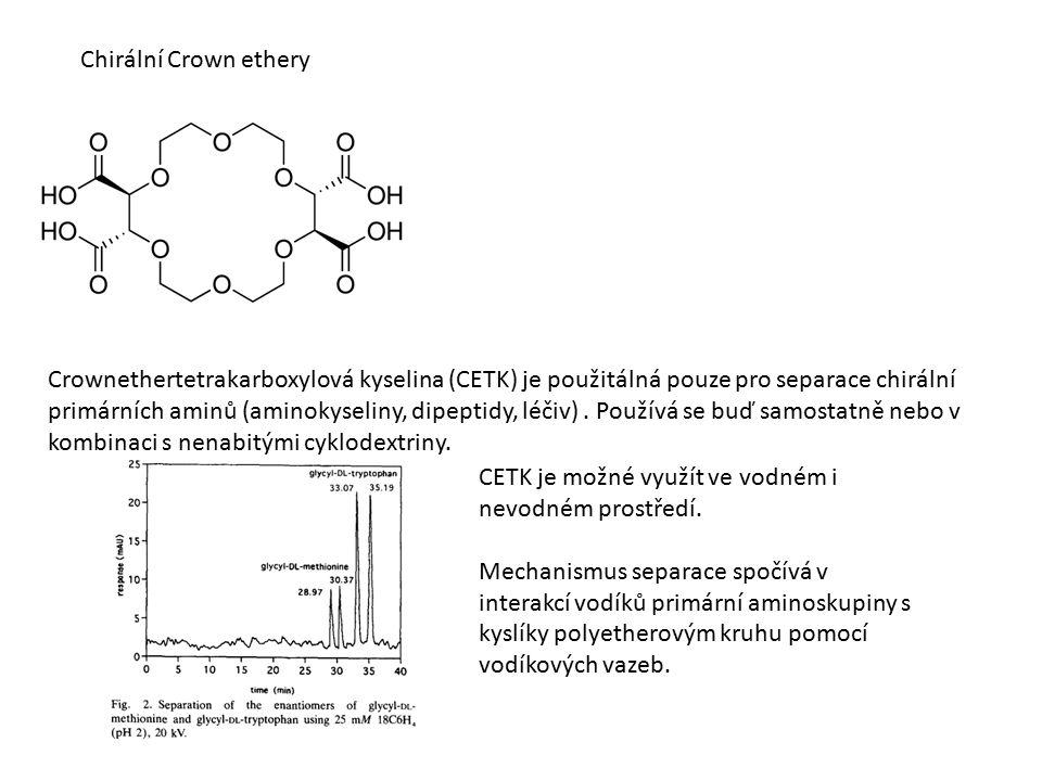 Chirální Crown ethery Crownethertetrakarboxylová kyselina (CETK) je použitálná pouze pro separace chirální primárních aminů (aminokyseliny, dipeptidy, léčiv).