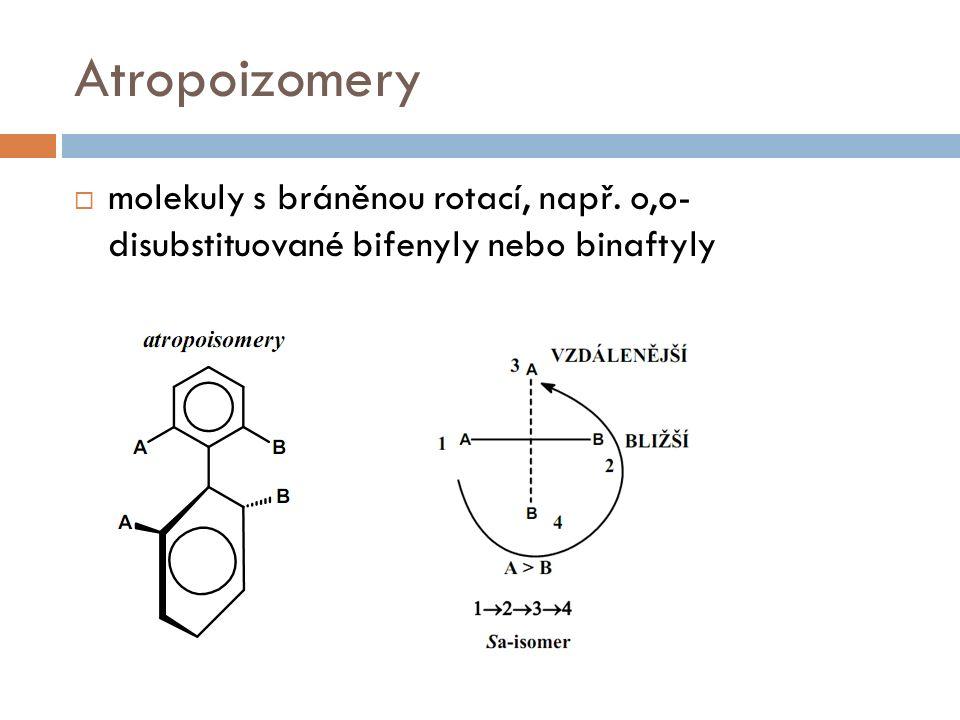 Atropoizomery  molekuly s bráněnou rotací, např. o,o- disubstituované bifenyly nebo binaftyly