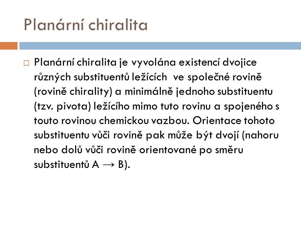 Planární chiralita  Planární chiralita je vyvolána existencí dvojice různých substituentů ležících ve společné rovině (rovině chirality) a minimálně jednoho substituentu (tzv.
