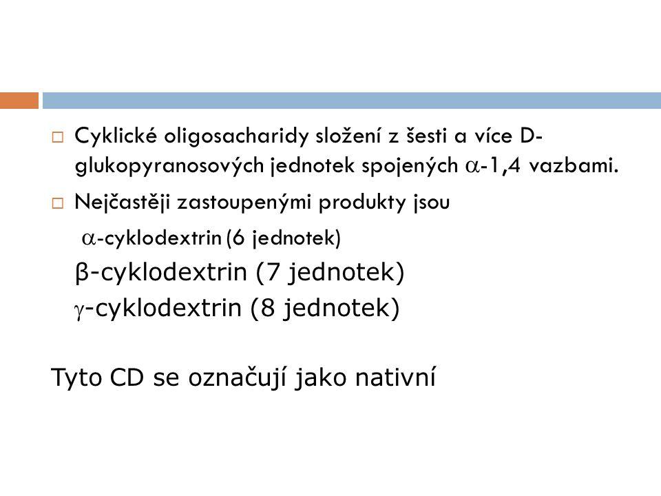  Cyklické oligosacharidy složení z šesti a více D- glukopyranosových jednotek spojených  -1,4 vazbami.