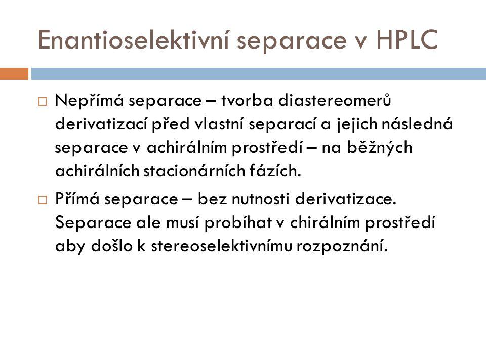 Enantioselektivní separace v HPLC  Nepřímá separace – tvorba diastereomerů derivatizací před vlastní separací a jejich následná separace v achirálním prostředí – na běžných achirálních stacionárních fázích.